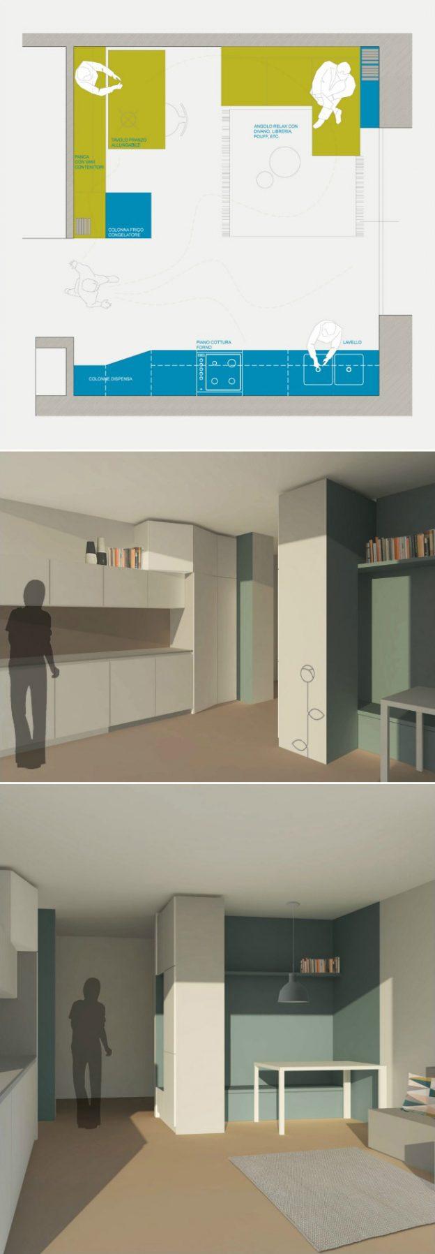 Progetto Soggiorno 20 Mq blog - okapì -mobili su misura